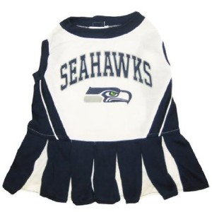 Seattle Seahawks dog cheerleader outfit on Bark and Swagger