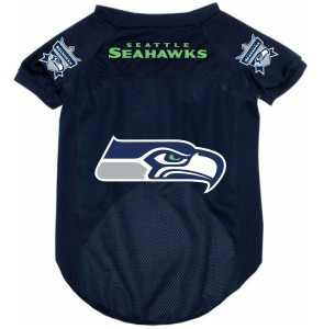 Seattle Seahawks dog jersey on Bark and Swagger