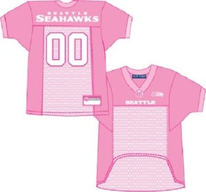 Seattle Seahawks pink dog jersey on Bark and Swagger